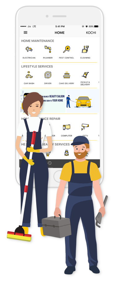 Doormojo 's wide network of trusted and experienced services professionals ensures Electrical, plumbing, AC installation, repair and service, home appliance repair, fitness and beauty services, laundry and drycleaning doorstep delivery and online food delivery within the city limits on time.